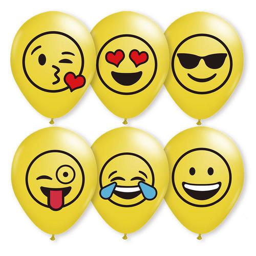 6 Emoji Mix Balloons Helium Quality, Bright Yellow Clolor, 12