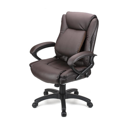 Ergonomic Faux-Leather Mid Back Office Chair with Adjustable Lumbar Support  - Moustache® - Dark Brown