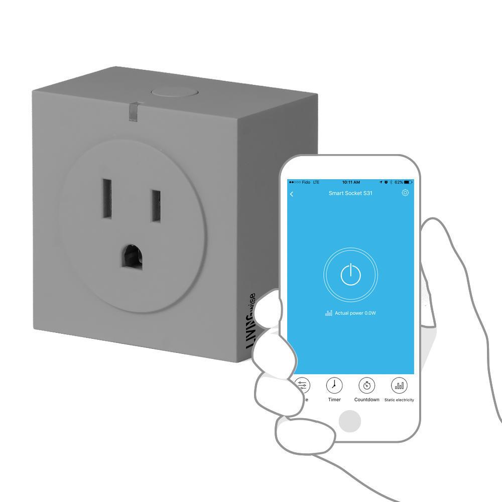 S31 WiFi Smart Socket Gray - Smart Phone App Online Controllable -  LivingWise