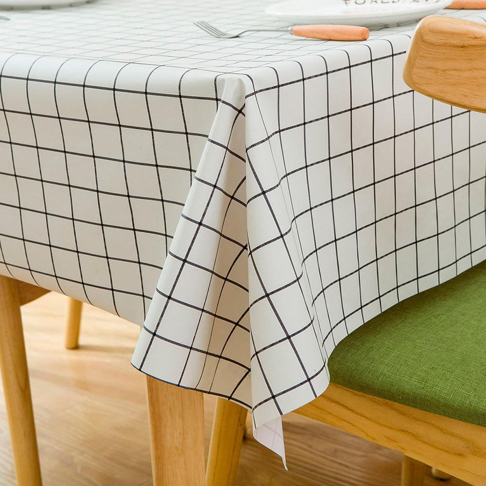 SKELETON LEAF GREY VINYL WIPE CLEAN PVC TABLECLOTH