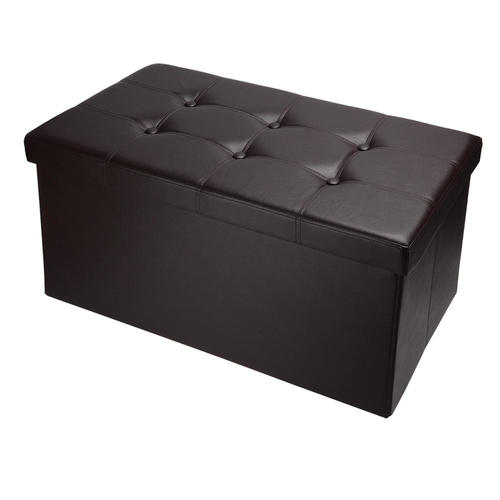 Folding Storage Ottoman Foot Rest Coffee Table Stool Faux Leather Organizer 1pc Sortwise
