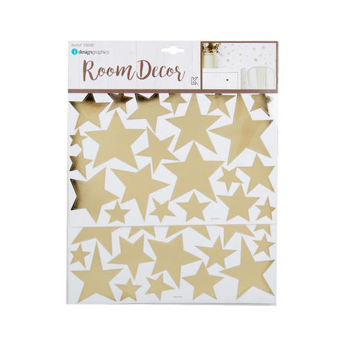 Wall Decals Gold Foil Stars Peel and Stick 2 Sheets - iDesign