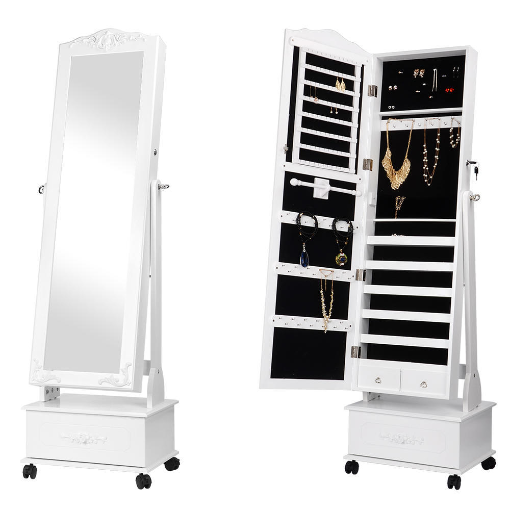 5e317ec41 Movable Jewelry Cabinet With Full-Length Mirror Standing Jewelry Armoire  Organizer - SortWise™