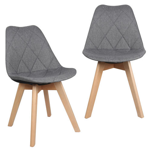Fabric Kitchen Dining Chairs With Wooden Legs Gray Moustache 2pack