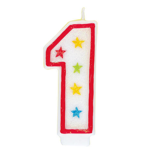 Birthday Candle Happy Cake Topper Glitter Number 1