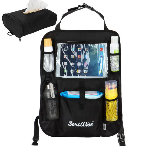 Car Seat Organizer Backseat Protector Storage With Clear Ipad Tablet Holder Sortwise