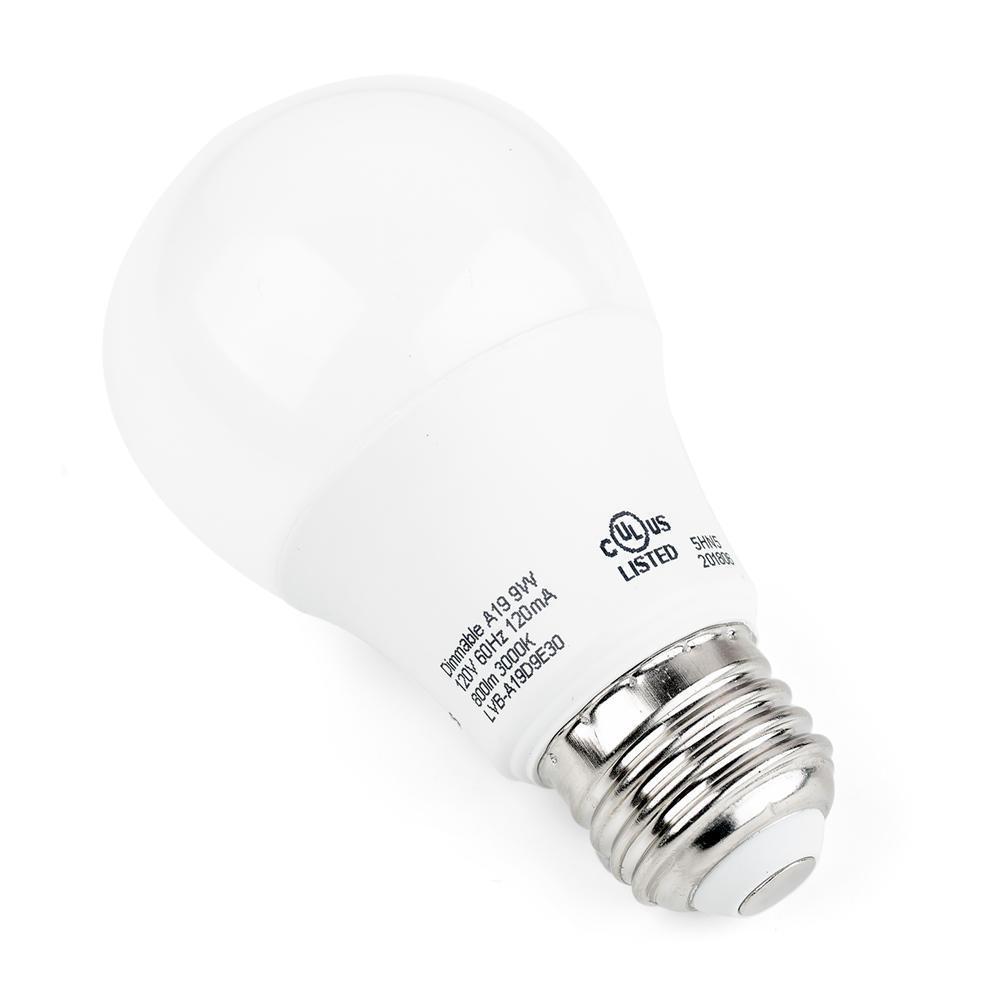 A19 Dimmable LED Bulb 9W 60W Equivalent E26 3000K Warm White 800 Lumens - LIVINGbasics™