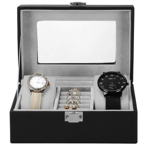 Portable Small Watch Box 3 Grid Black Pu Leather Watch Jewelry Storage Vintage Style Sortwise