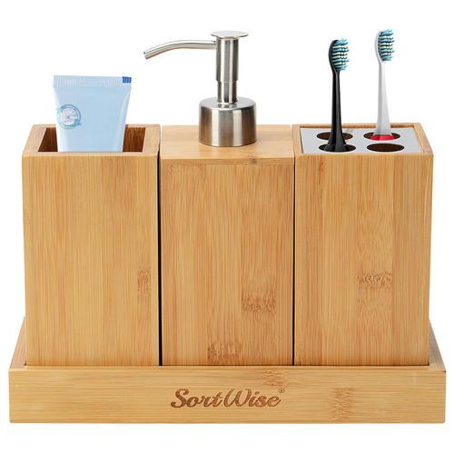Bamboo Bath Caddy 3 Piece Bathroom Set