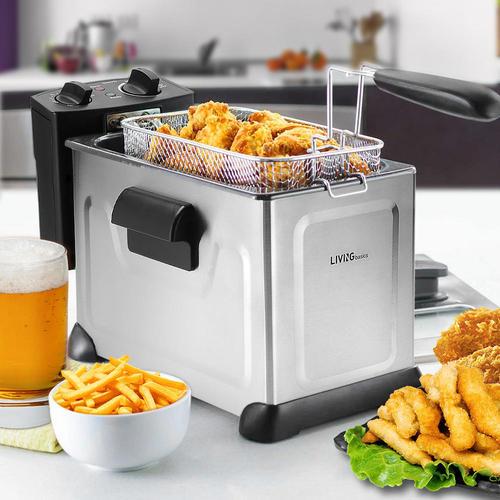 professional deep fryer with basket oil fryer 3 7l stainless steel rh living ca kitchen living deep fryer manual