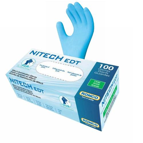 RONCO® Nitech® 5 mil Examination Gloves, Blue, 100/Box, 10 Boxes - Small