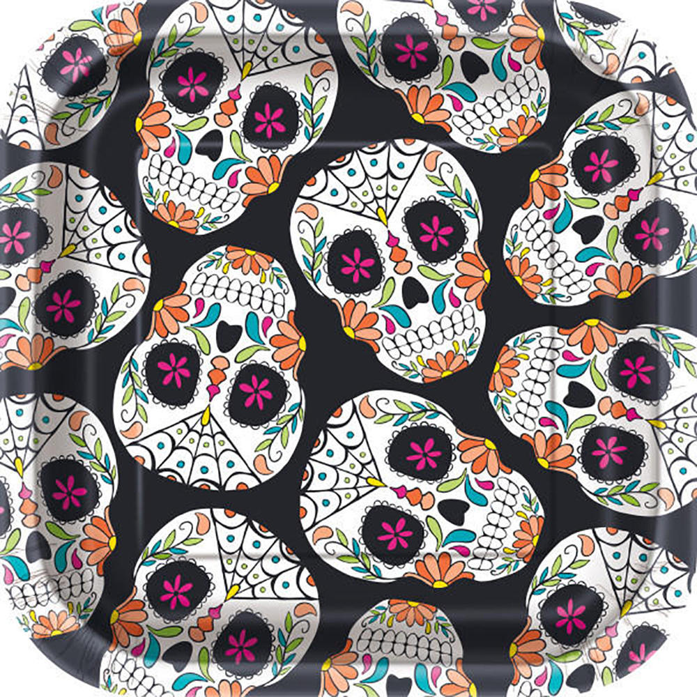 "Happy Halloween Square Skull Day of the Dead Paper Plates for Home Party Decor 7"" 10Pcs Pack"