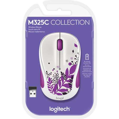 Logitech M325C Wireless Optical Mouse, Purple Peace