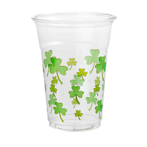 St.Patrick Plastic Tumblers with Shamrocks Print 473ml 16oz 4Pcs/Pack