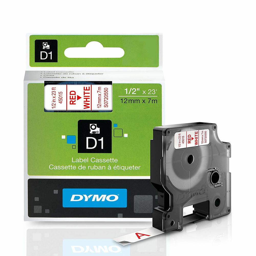 """Free Ship! NEW DYMO D1 LABEL CASSETTE TAPE BLACK ON RED 1//2/"""" X 23/' 12mm X 7m"""