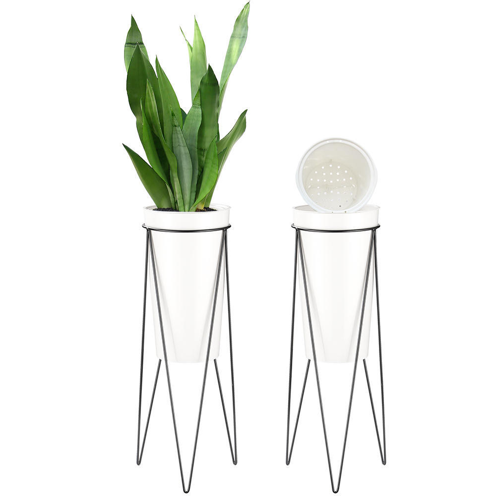 Self Watering Planters Plastic Plant Pot Modern Decorative Flower Pot Set Of 2 Livingbasics