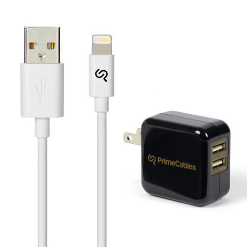 PrimeCables Apple Certified Lightning Cable 3ft with Dual Port USB Charger