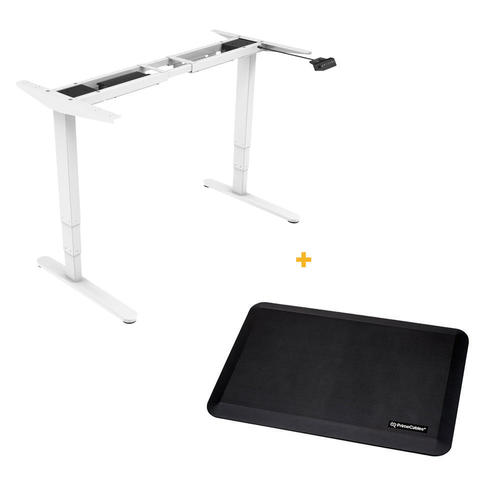 PrimeCables Sit-Stand Dual-Motor Height Adjustable ADR Desk Frame, Electric-White + Standing Mat Cab-M02-23R-WH-STM01-1