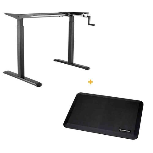 PrimeCables Manual Crank Adjustable Height Sit-Stand Desk Frame, Black + Anti-fatigue Standing Mat