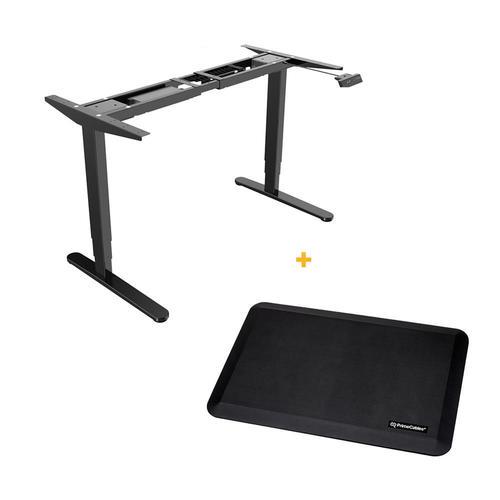 PrimeCables Sit-Stand Dual-Motor Height Adjustable ADR Desk Frame, Electric-Black + Standing Mat Cab-M02-23R-BK-STM01-1
