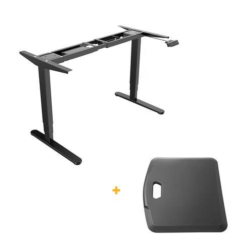 PrimeCables Sit-Stand Dual-Motor Height Adjustable Desk Frame, Electric-Black + Standing Portable Cab-M02-23R-BK-STM02-3