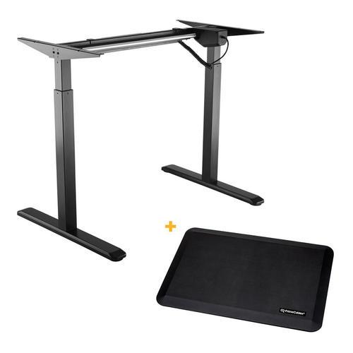 PrimeCables Electric Sit to Stand Adjustable Desk Riser Frame Black + Anti-fatigue Standing Mat Cab-ET101-BK-G2-STM01-1