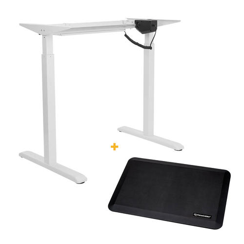 PrimeCables Electric Sit to Stand Adjustable Desk Riser Frame White + Anti-fatigue Standing Mat Cab-ET101-WH-G2-STM01-1